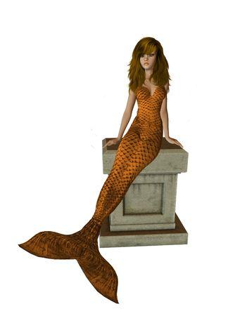 nymphet: Orange mermaid sitting on a pedestal 300 dpi Stock Photo