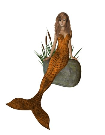 Orange mermaid sitting on a rock with cattails 300 dpi photo