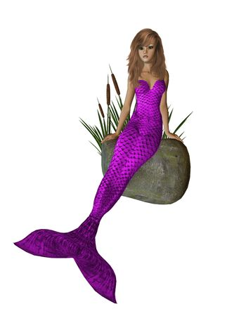 nymphet: Purple mermaid sitting on a rock with cattails 300 dpi