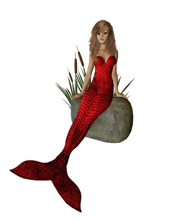 nymphet: Red mermaid sitting on a rock with cattails 300 dpi Stock Photo