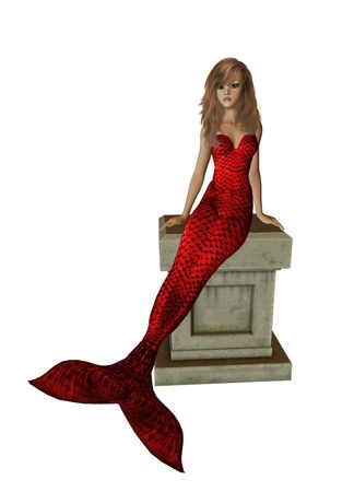 nymphet: Red mermaid sitting on a pedestal 300 dpi