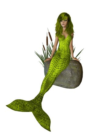 cattails: Yellow mermaid sitting on a rock with cattails 300 dpi Stock Photo