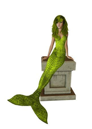 nymphet: Yellow mermaid sitting on a pedestal 300 dpi
