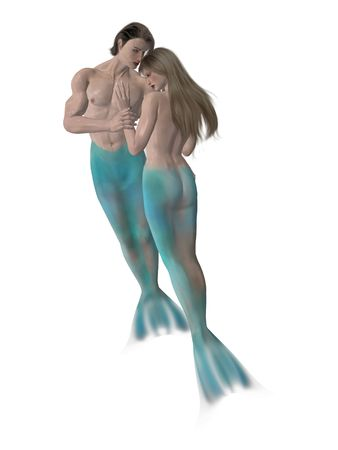Mermaid couple embrassing each other photo