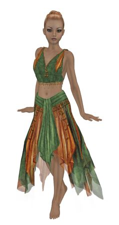 Orange and green fairy standing up photo