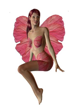 Pink fairy sitting down 300 dpi