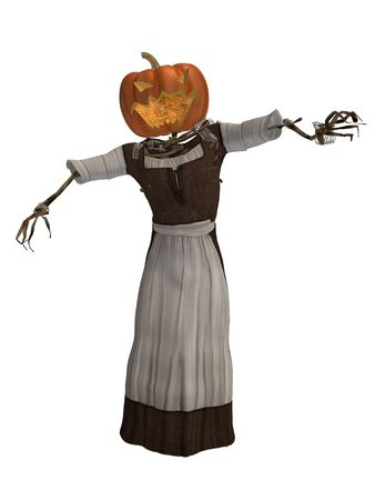 Scary pumpkin woman wearing a dress