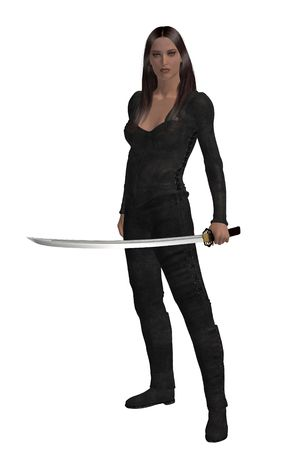 Woman standing holding a sword