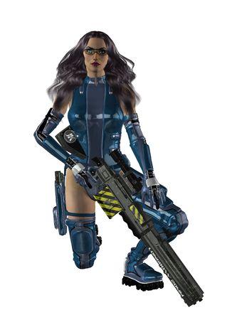 donna in ginocchio: Donna in ginocchio e in possesso di un fucile