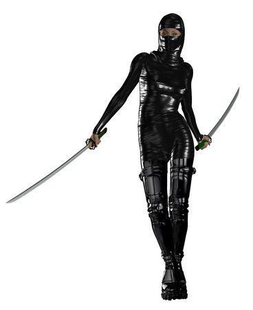 weapons: Female ninja holding two swords