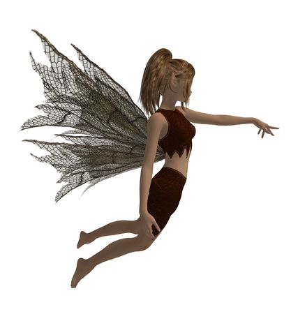 Guardian fairy of the forest in a flying pose