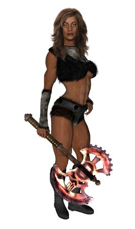 Woman Warrior holding a battle axe photo