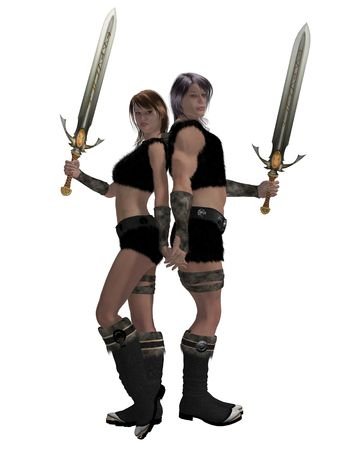 dyad: Warrior barbarian couple standing side by side holding swords Stock Photo