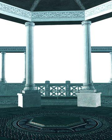 bookish: Grecian stone columns on a white background
