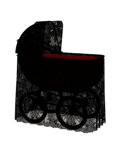 papoose: carriage with lace Stock Photo