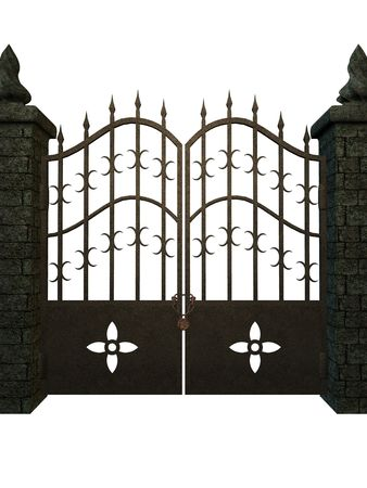 A Fantasy gate on a white background