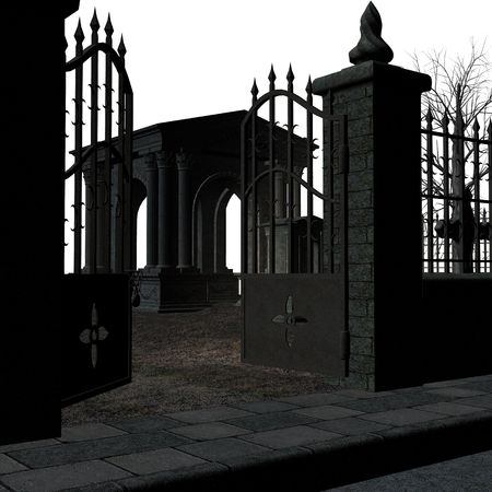 ghostlike: A spooky cemetery on a white background