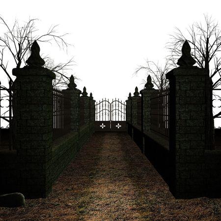 cementerios: Una escalofriante cementerio sobre un fondo blanco
