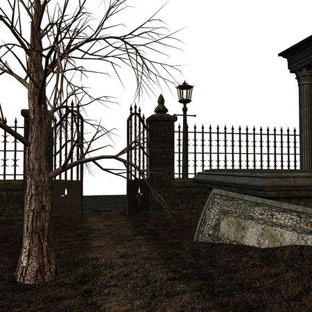 illusory: Una escalofriante cementerio sobre un fondo blanco