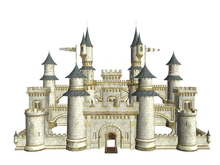 Fairytale story castle on a white background