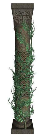 singular: Singular column with vines Stock Photo