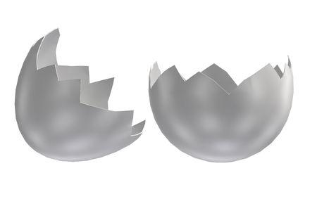 Cracked white eggshells