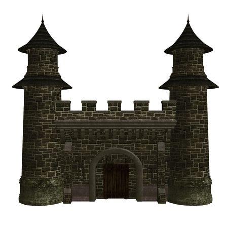 donjon: Fairytale story castle on a white background