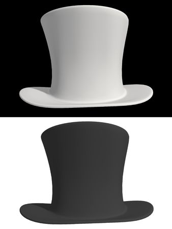 topper: Black and white top hat