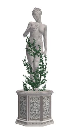 Grey statue with vines Imagens