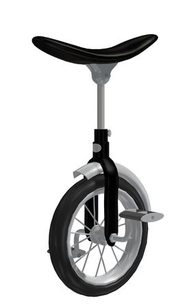 driven: a one-wheeled unicycle driven by pedals, used in a circus  Stock Photo