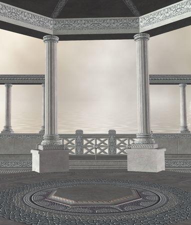 Greek columns overlooking the ocean