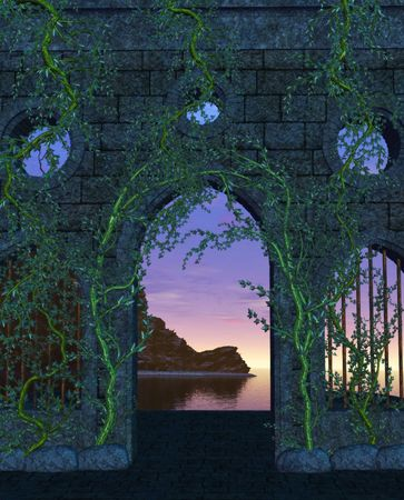 context: Sunset view overlooking the ocean through stone and vined walls. Stock Photo
