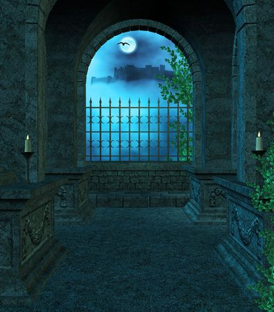 Inside the Mausoleum at night with candles, vines, fog looking out the window towards a castle