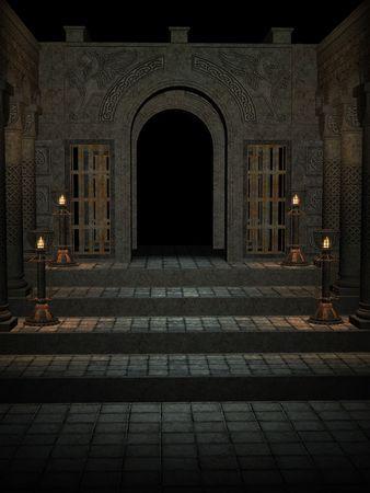Stairway to open door background
