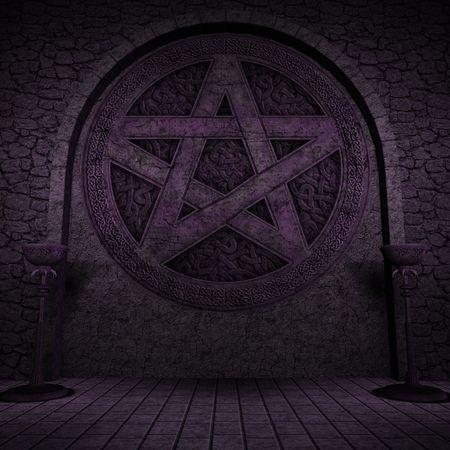 Indoor pentagram background