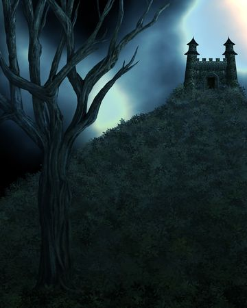 fairytale background: Dark Spooky Fairytale Background Stock Photo