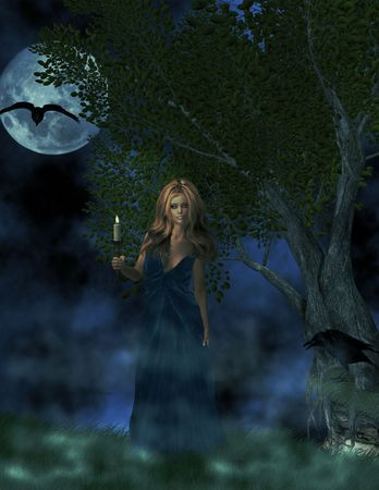 Blonde haired woman holding candle outside under a full moon.
