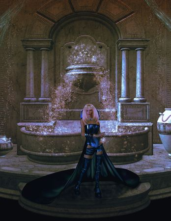 trickster: Magical blue mage in front of a magical fountain Stock Photo