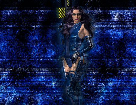 Sci Fi Woman with Rifle ready to fight Zdjęcie Seryjne