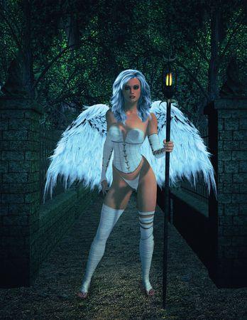 elohim: Angel standing outside Stock Photo