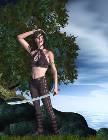 Warrior woman standing in fighting stance ready to fight with her sword Zdjęcie Seryjne
