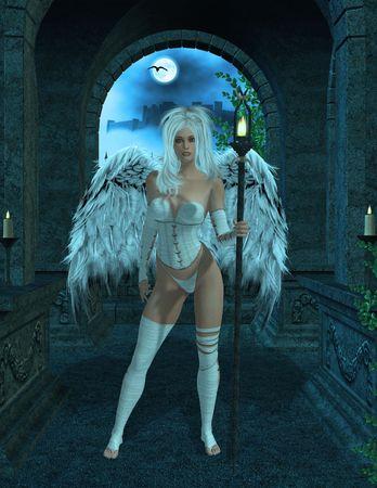 elohim: Angel standing inside a masoleumn Stock Photo