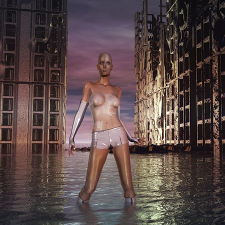 robot girl: Sci Fi cyborg woman standing by a ruined city underwater