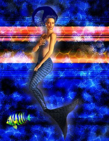 Mermaid swimming with caustic blue background