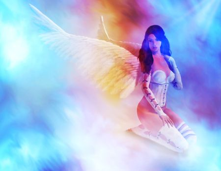 elohim: Angel sitting clouds looking down