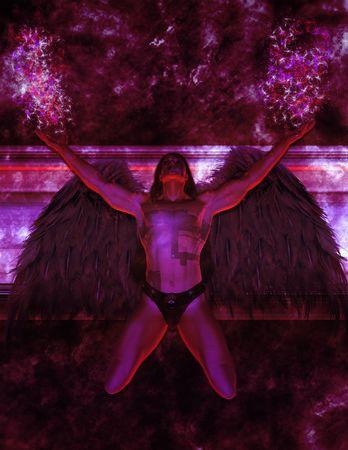 elohim: Angel kneeling looking up toward the sky