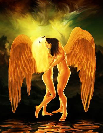 elohim: Two angels embracing