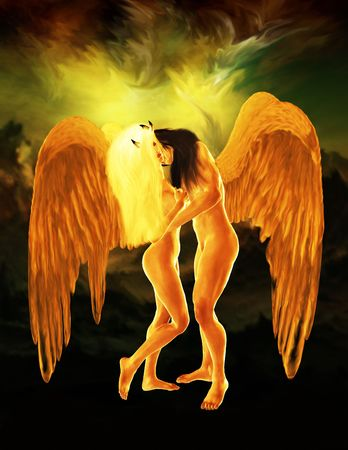heavenly angel: Two angels embracing