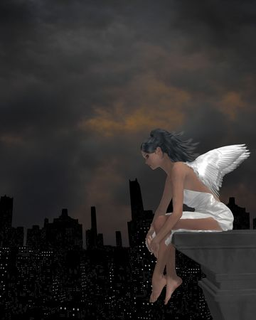 Angel sitting on a ledge overlooking the city