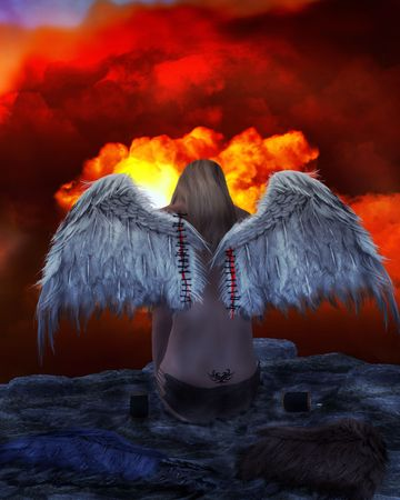 Angel sitting on a ledge overlooking red clouds